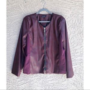 NOTATIONS Plum Brushed Faux Leather Jacket